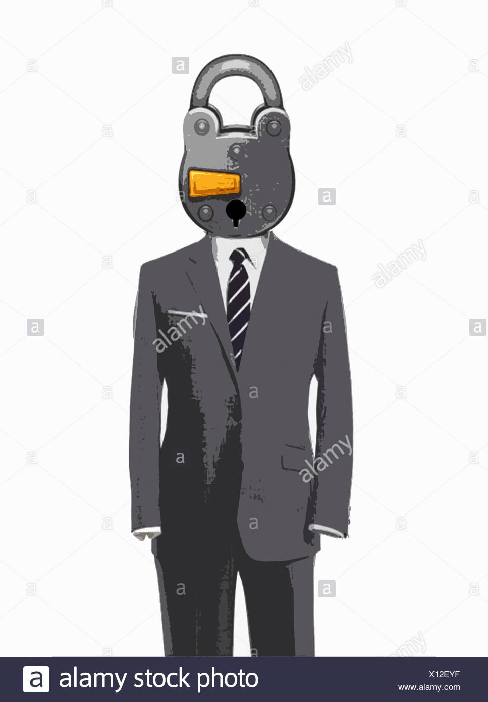 Padlock head on empty business suit - Stock Image