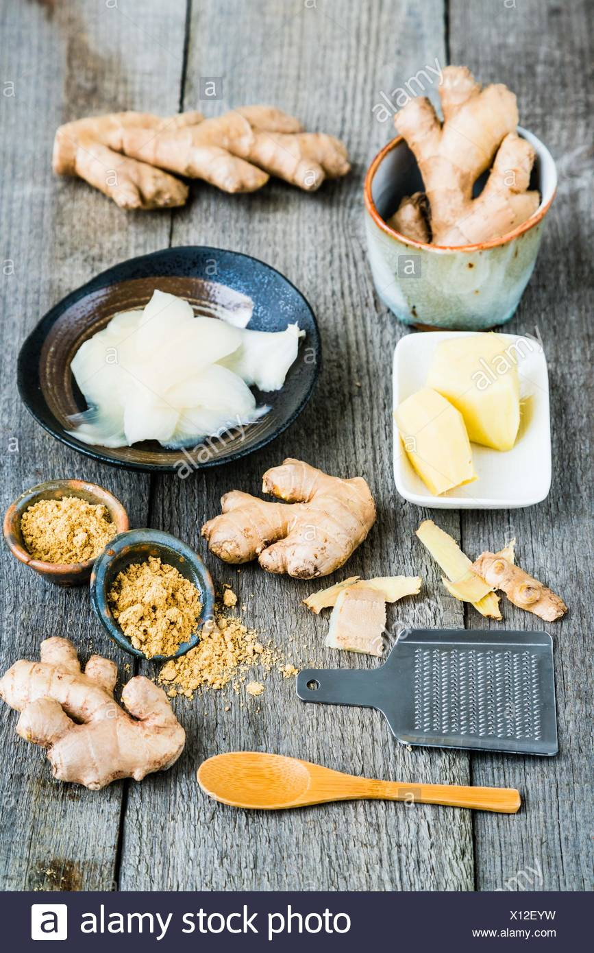 Fresh ginger , powdered and preserved. - Stock Image