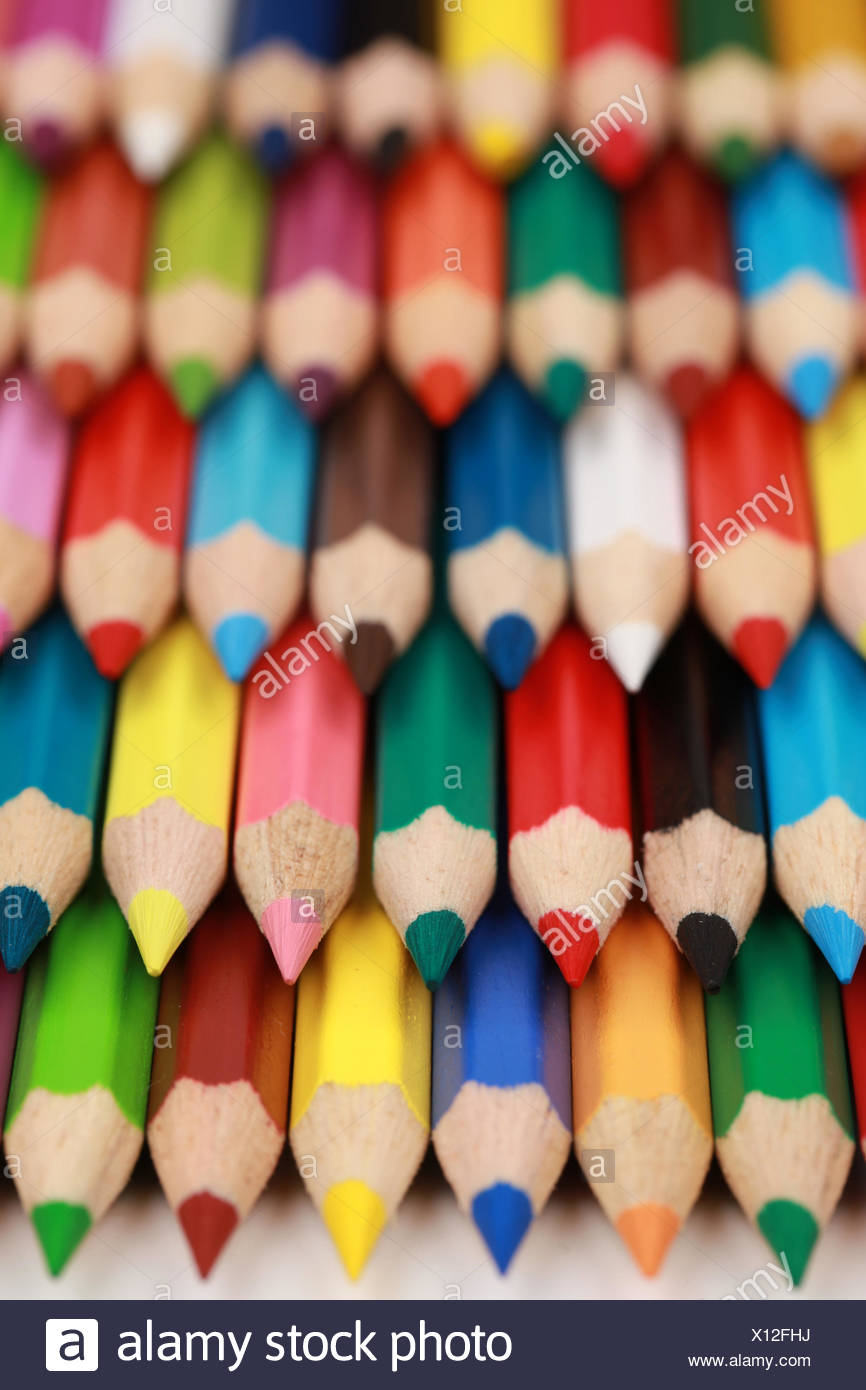 Viele Buntstifte Stock Photo