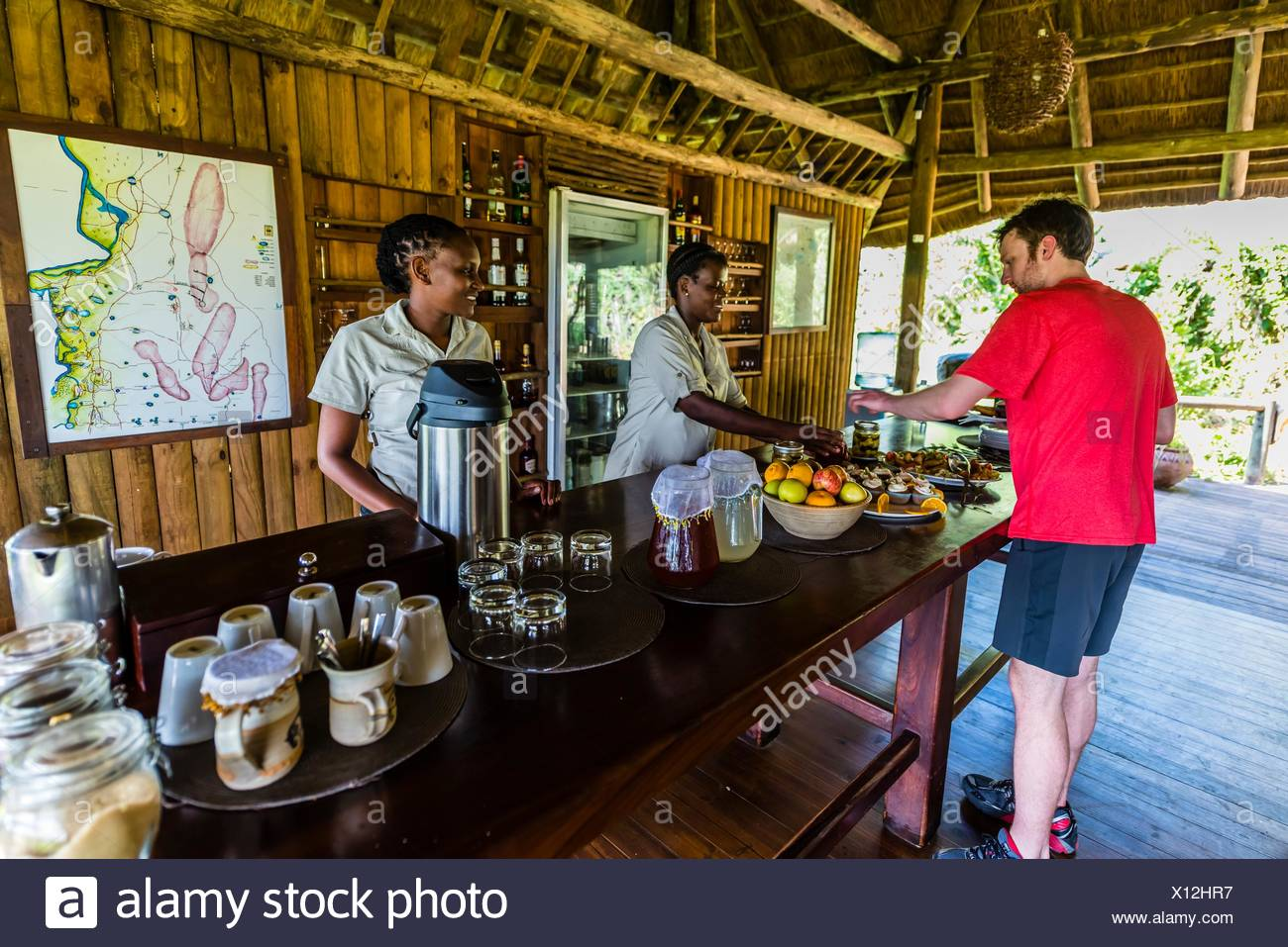 Lebala Camp, Kwando Concession, Linyanti Marshes, Botswana. Stock Photo
