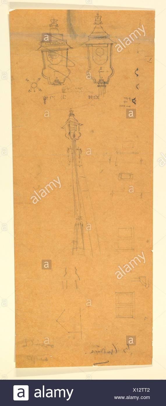 Studies of a Lamp Standard. Artist: Sir Edwin Landseer Lutyens (British, London 1869-1944 London); Date: late 19th-mid-20th century; Medium: - Stock Image