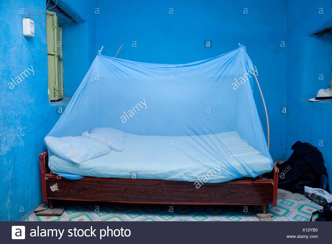 Hotel, Asaita, Africa, bed, mosquito net, mosquito net, primitive, hotel, Ethiopia, - Stock Image