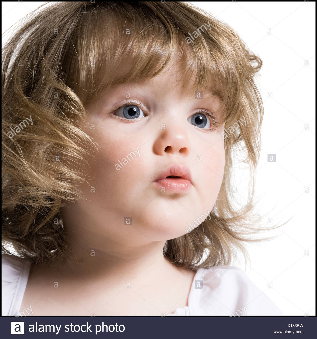 close up of little girl - Stock Image