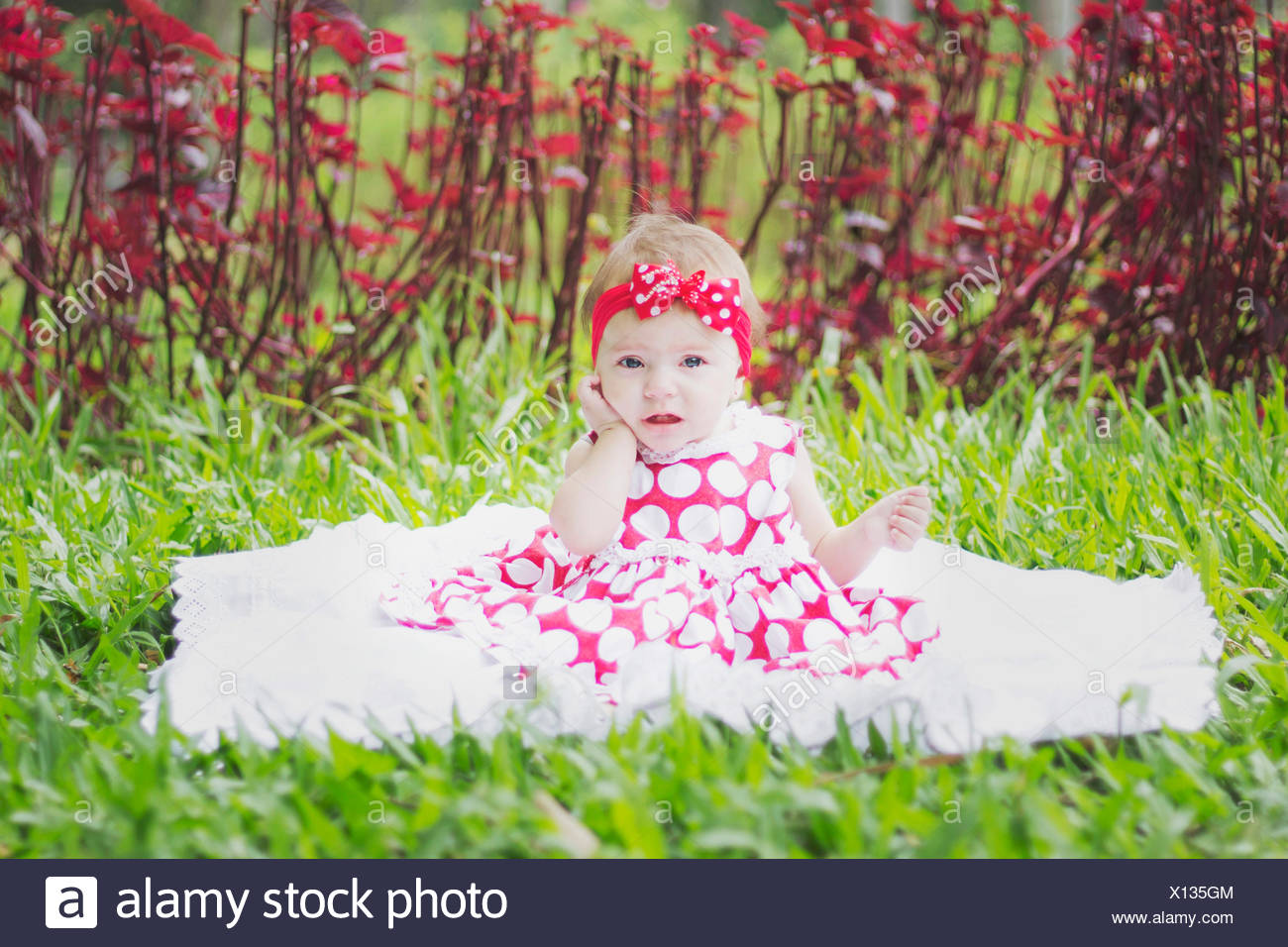 Portrait Of A Pretty Baby Girl Sitting On Grassland - Stock Image