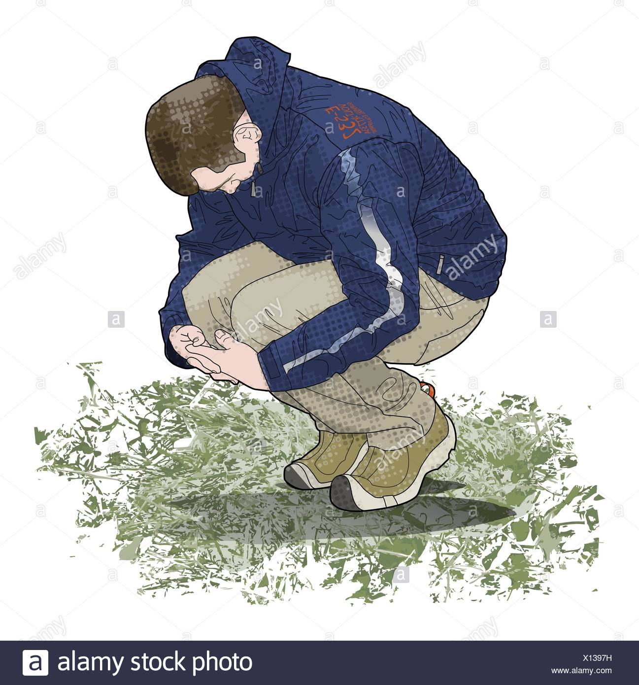 Digital illustration of man crouching on ground looking down and holding knees Stock Photo