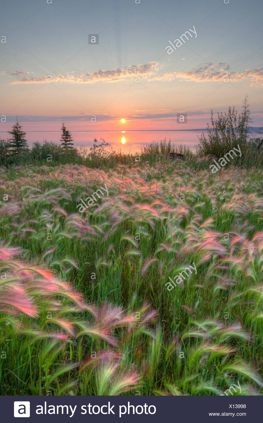 Sunset over Colville Lake, Northwest Territories, Canada. - Stock Image
