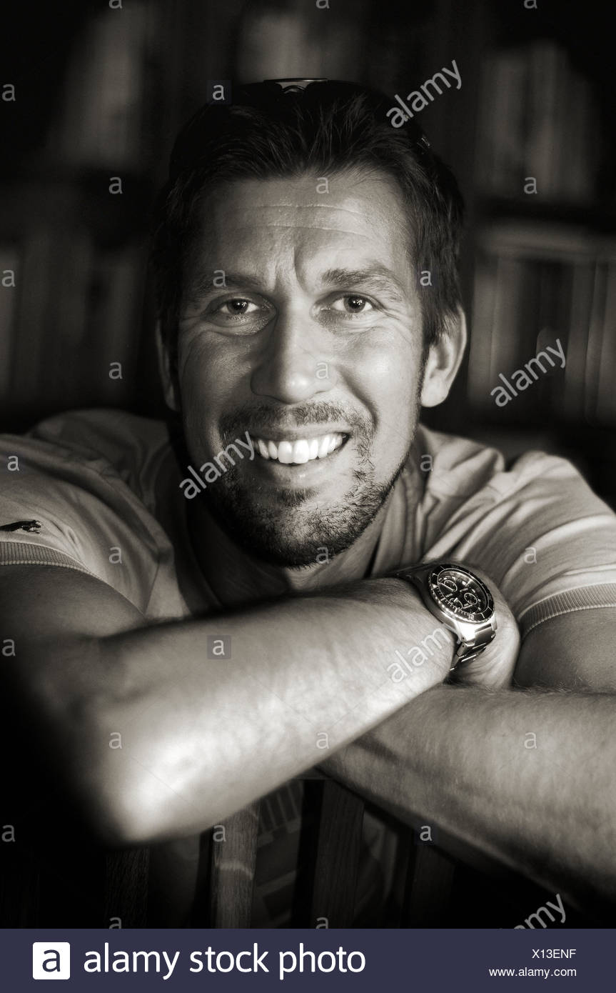 Black and white portrait of a middleaged man Stock Photo