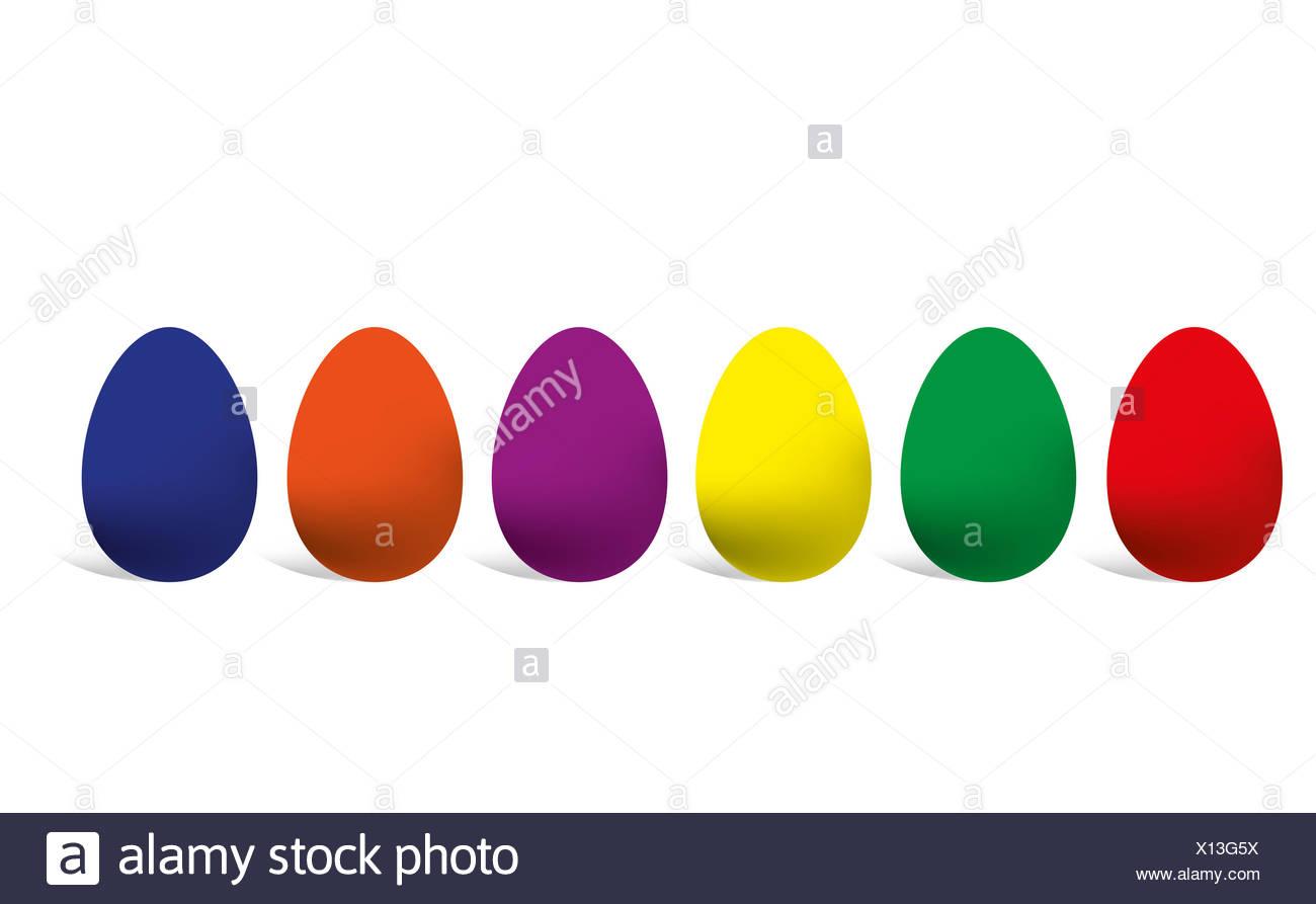 6 Ostereier in verschiedenen Farben auf weiß. - Stock Image