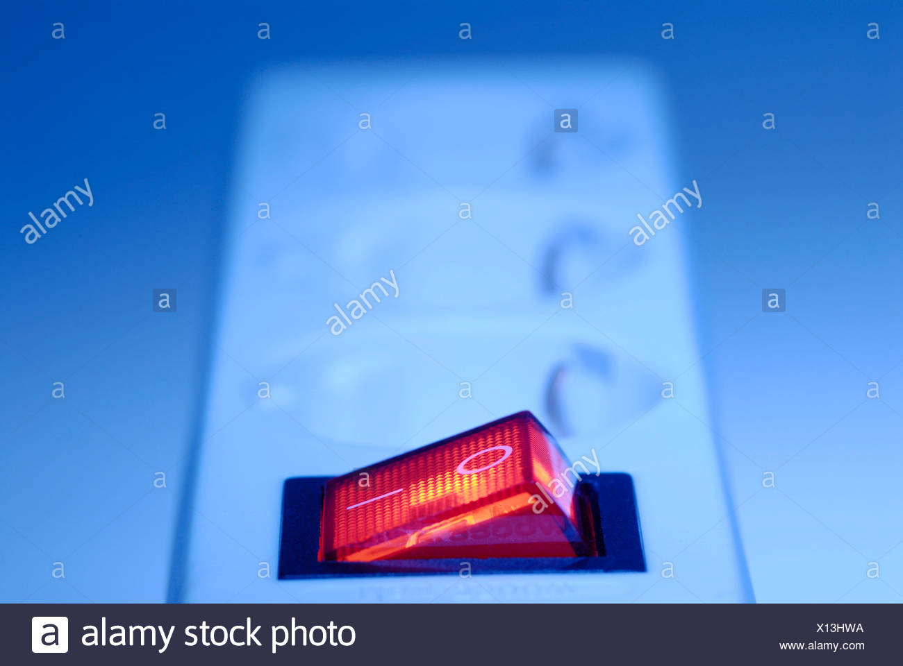 On/off switch on an electrical outlet (socket), power bar Stock Photo