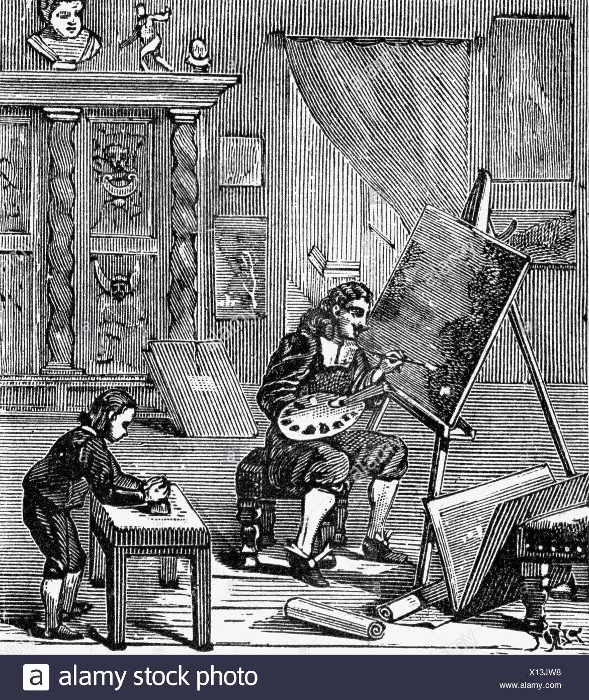 Lorrain, Claude, 1600 - 23.11.1682, French painter, working, wood engraving, 19th century, , Additional-Rights-Clearances-NA - Stock Image