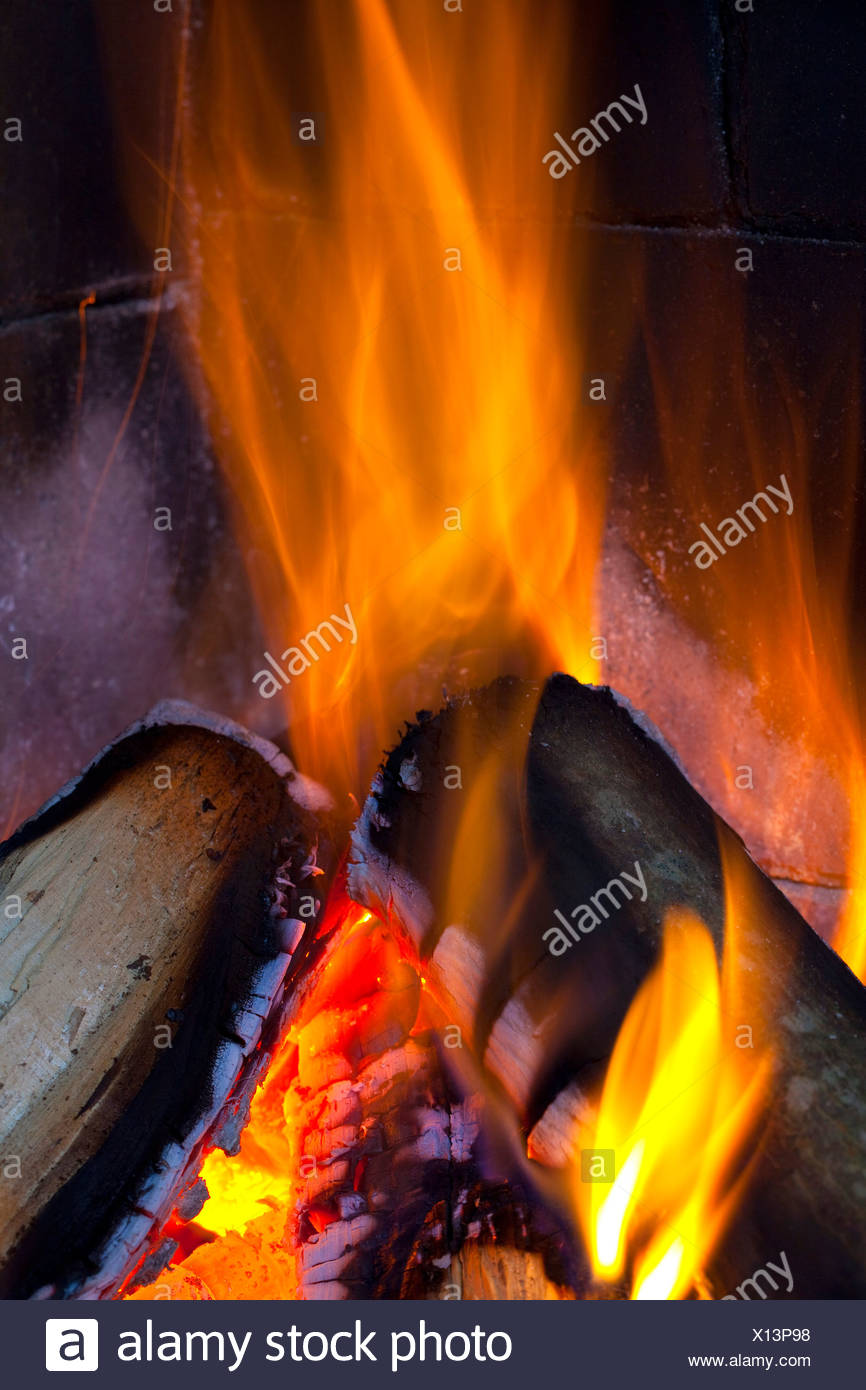 Extreme close-up of bonfire - Stock Image