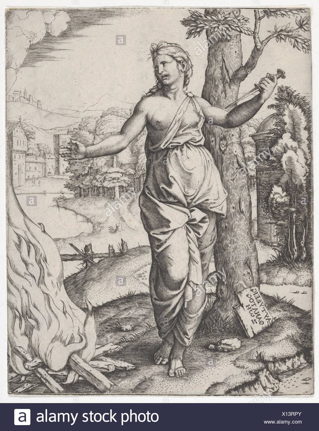 Dido holding a dagger in her right hand, left arm outstreched. Artist: Marcantonio Raimondi (Italian, Argini (?) ca. 1480-before 1534 Bologna (?)); - Stock Image
