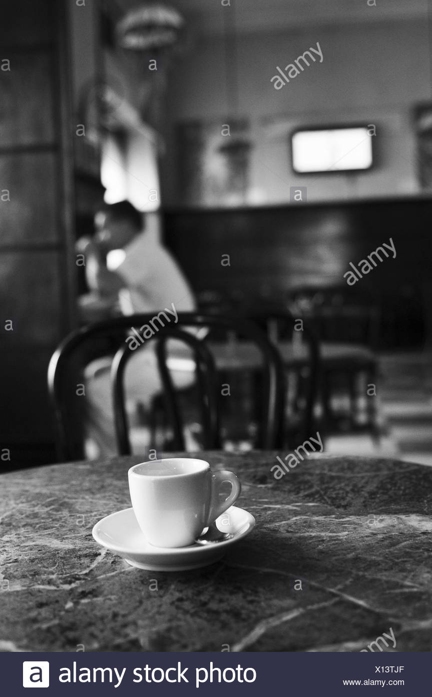 Cafe, table, cup, guest, s/w, - Stock Image