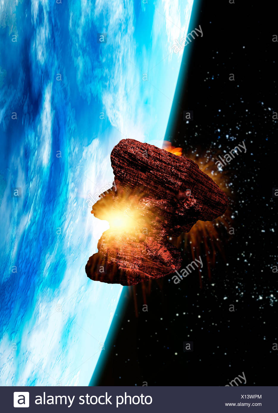 Asteroid approaching Earth, artwork Stock Photo