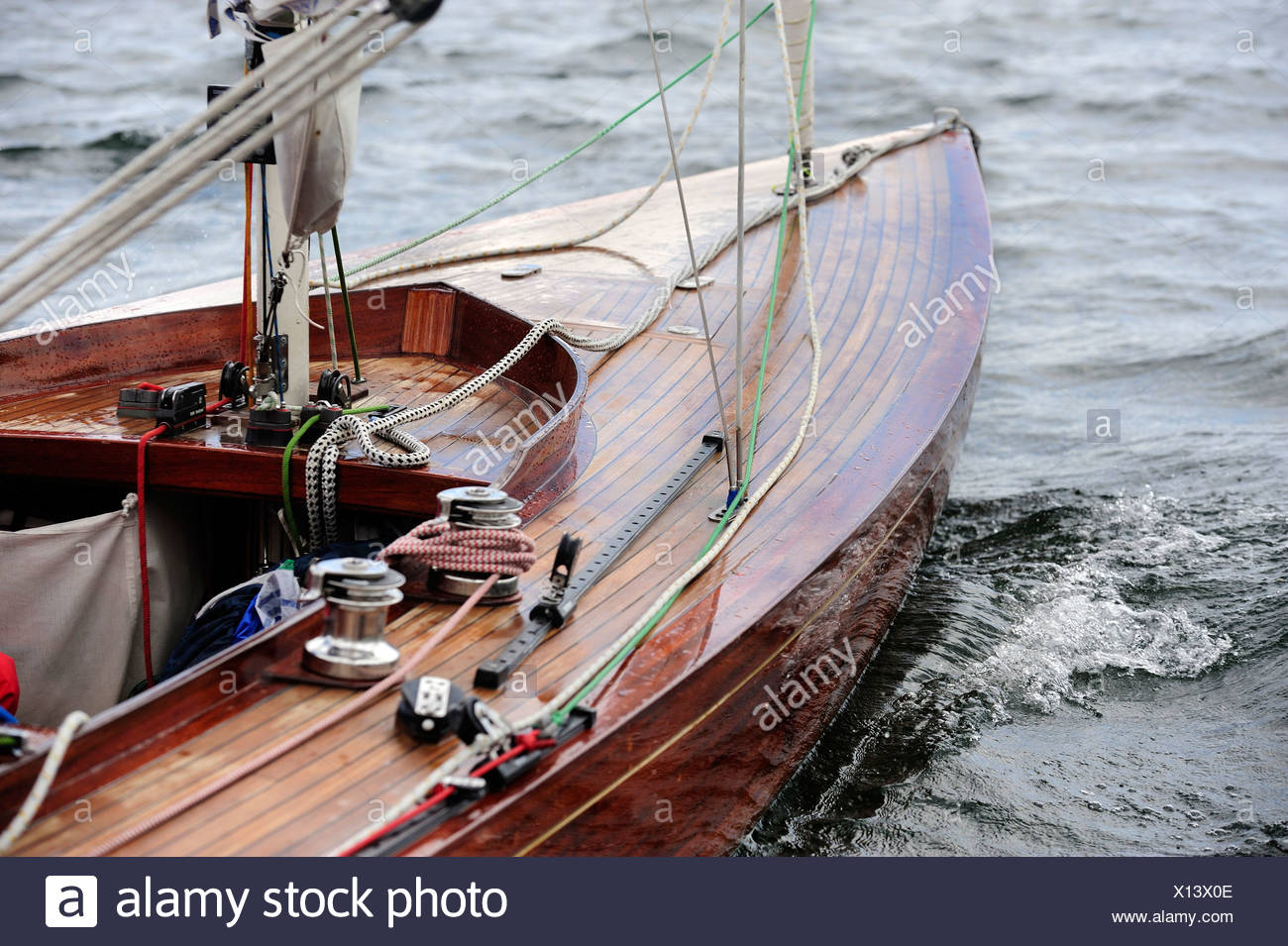Detail of a sail boat - Stock Image