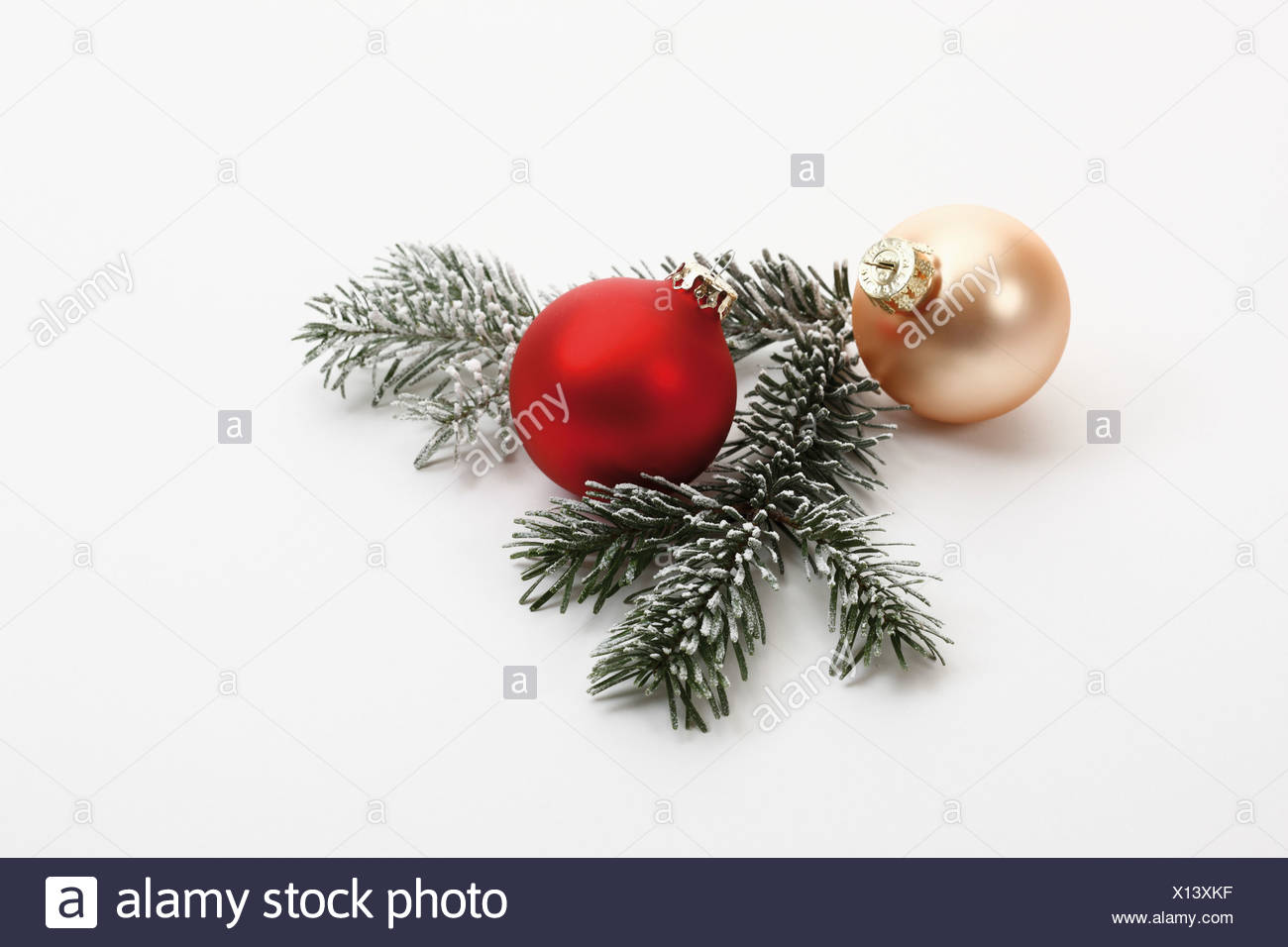 Christmas decoration, Christmas baubles and fir twig - Stock Image