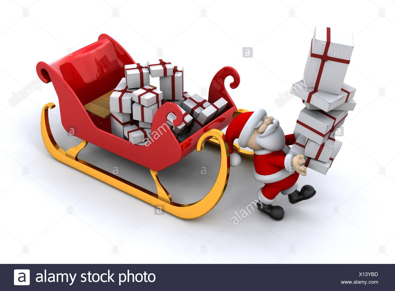 father christmas gift christmas presents sleigh render xmas x-mas ...