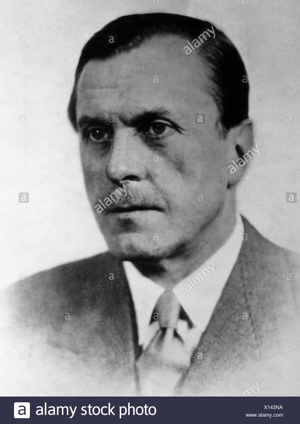 Brentano, Bernard von, 15.10.1901 - 29.12.1964, German writer, author, writers, authors, portrait, 1940s, , Additional-Rights-Clearances-NA - Stock Image