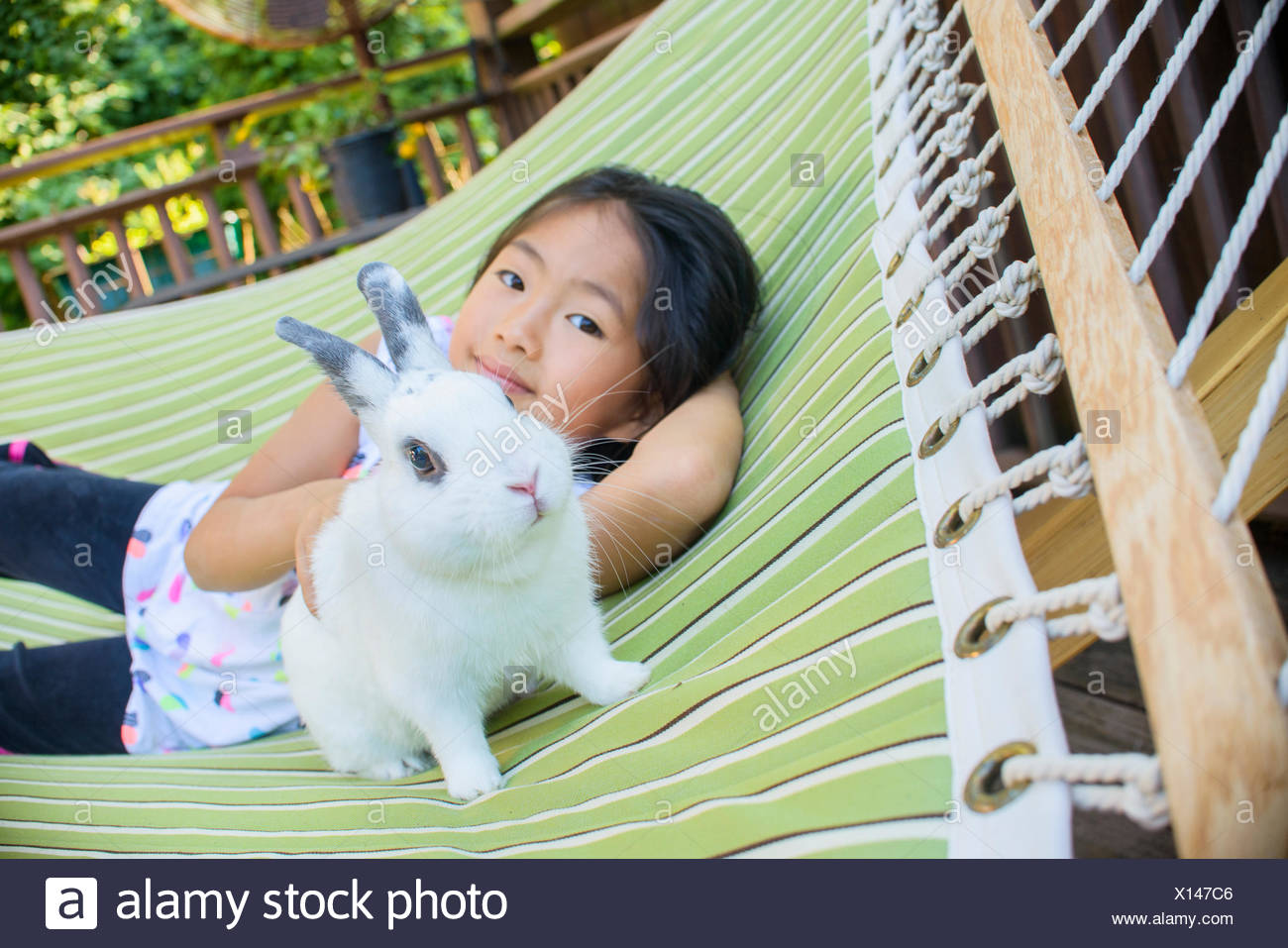 Young asian girl on hammock with pet rabbit - Stock Image