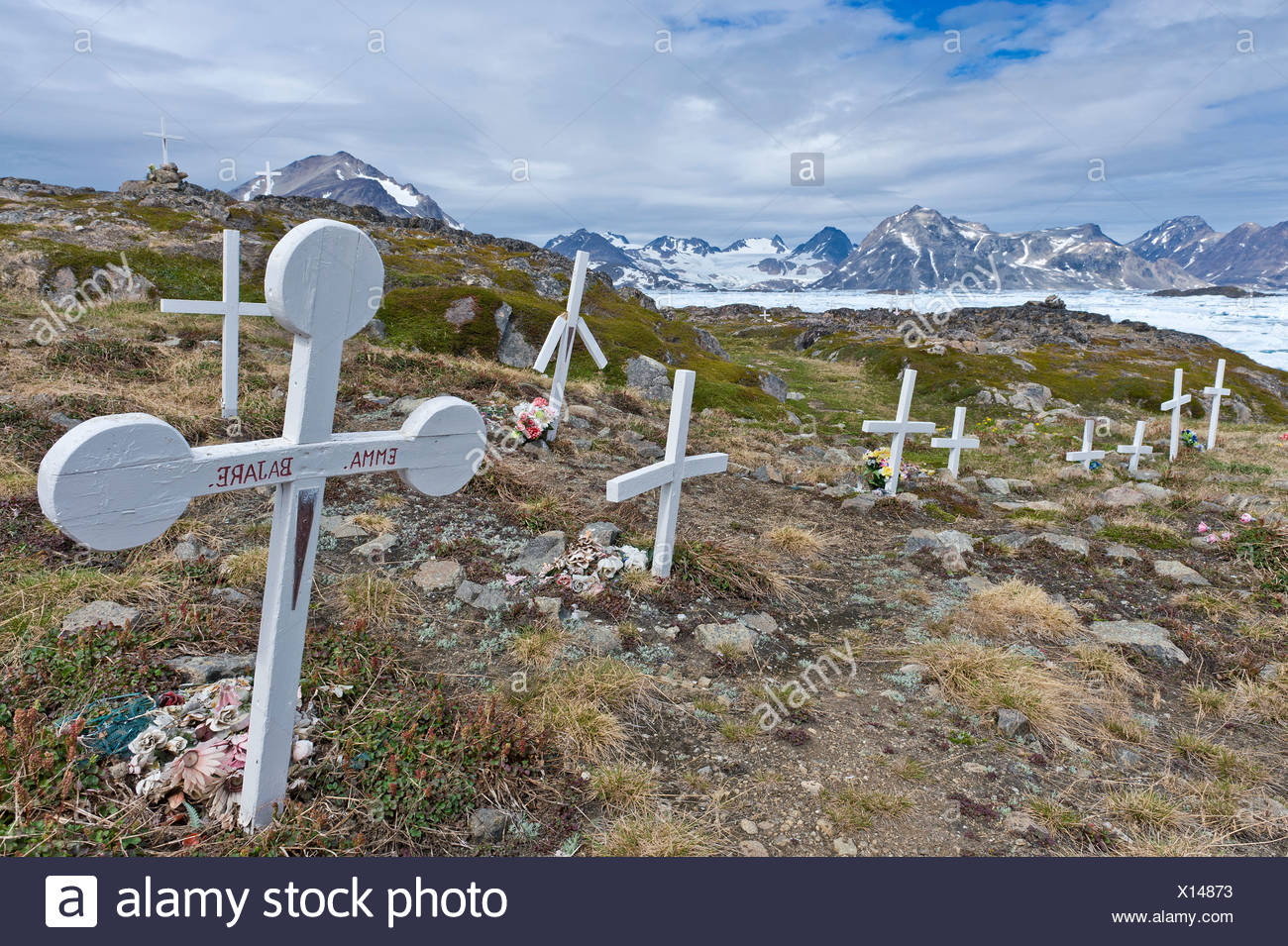 Cemetery, Kulusuk, East Greenland, Greenland Stock Photo