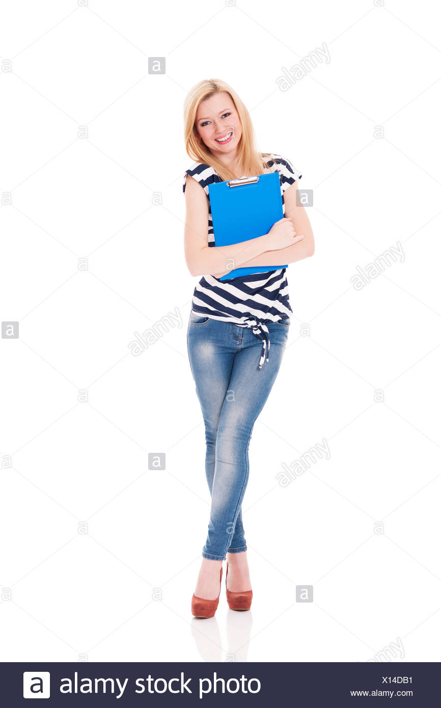 Smiling woman holding clipboard, Debica, Poland - Stock Image