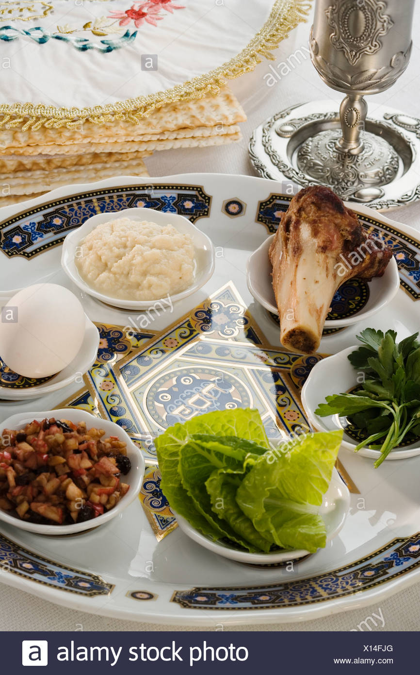 Table set for Seder - Stock Image