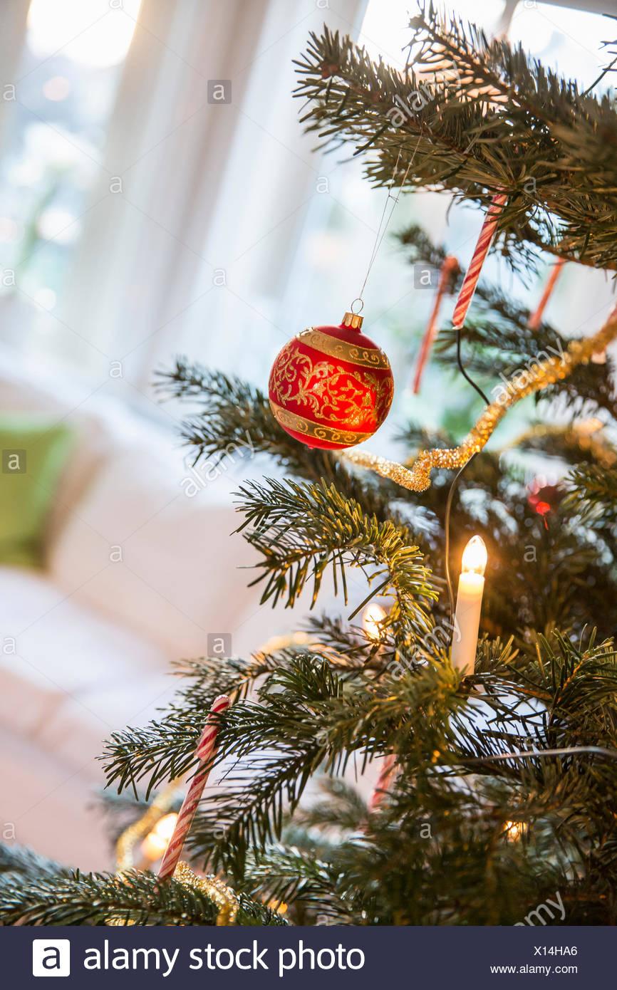 Swedish Christmas Decorations.Scandinavian Christmas Tree Decorations Stock Photos