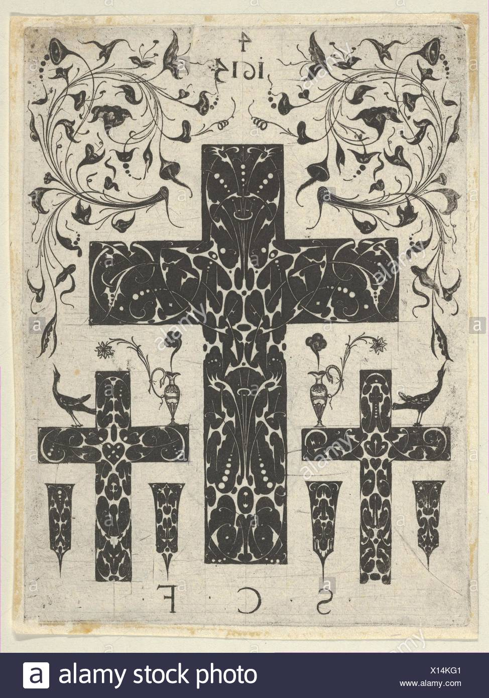 Blackwork Print with Three Crosses and Foliate Scrolls, from a Series of Blackwork Prints for Goldsmiths' Work. Artist: Etienne Carteron (French, - Stock Image