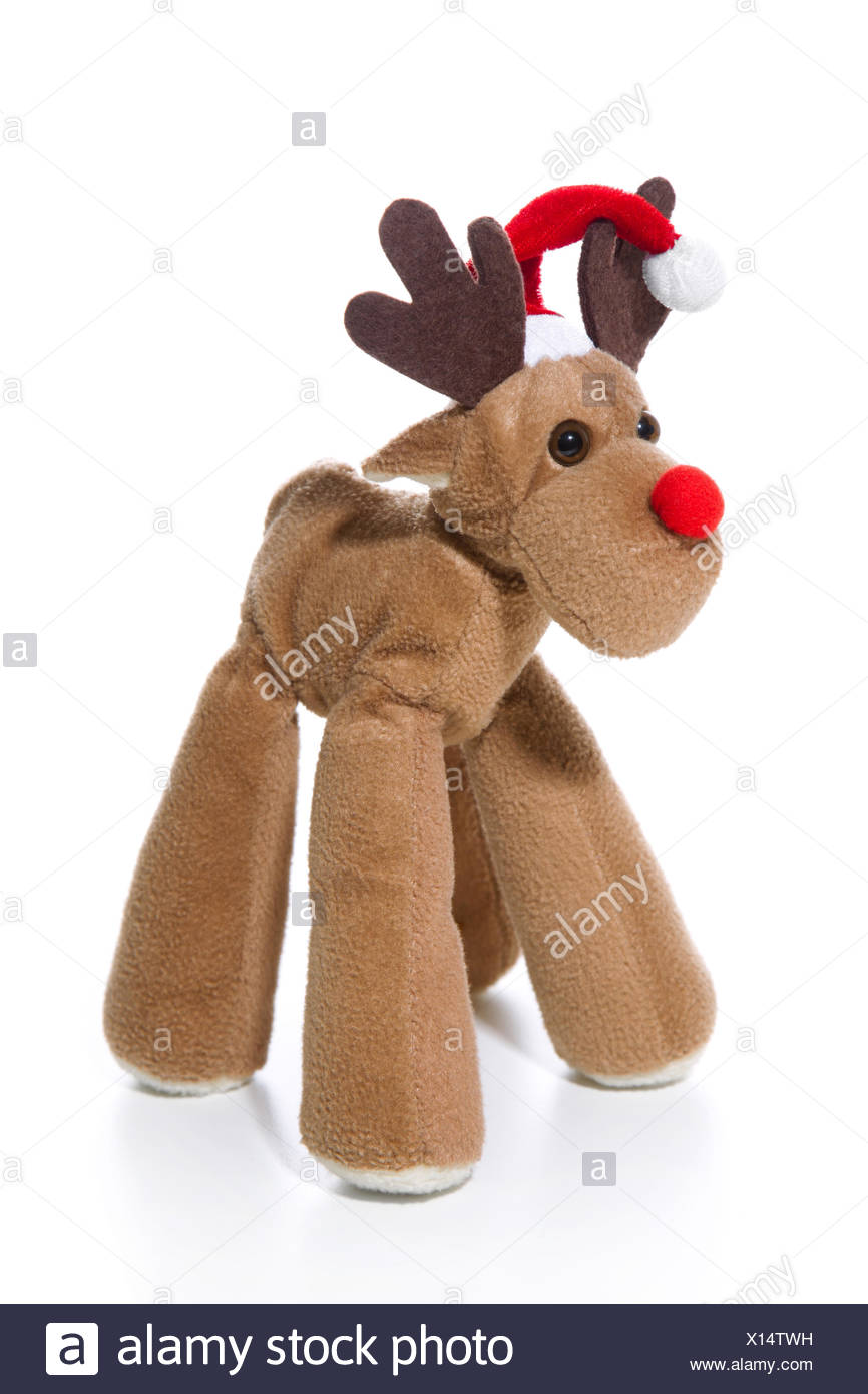 bbe92abd54e21 Decoration  Plush reindeer with Santa hat isolated with a red christmas hat