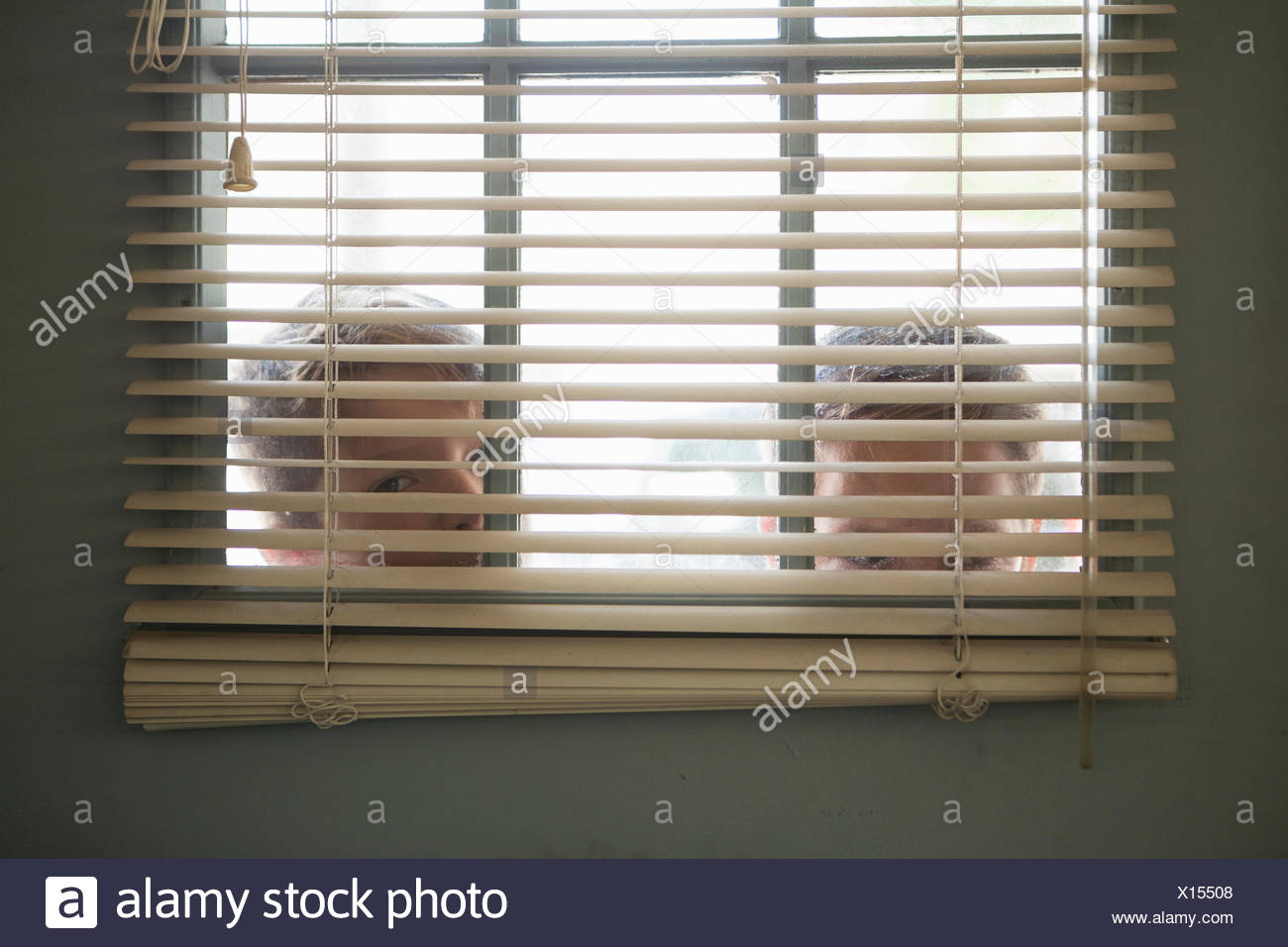 Two boys peering through window with venetian blind - Stock Image