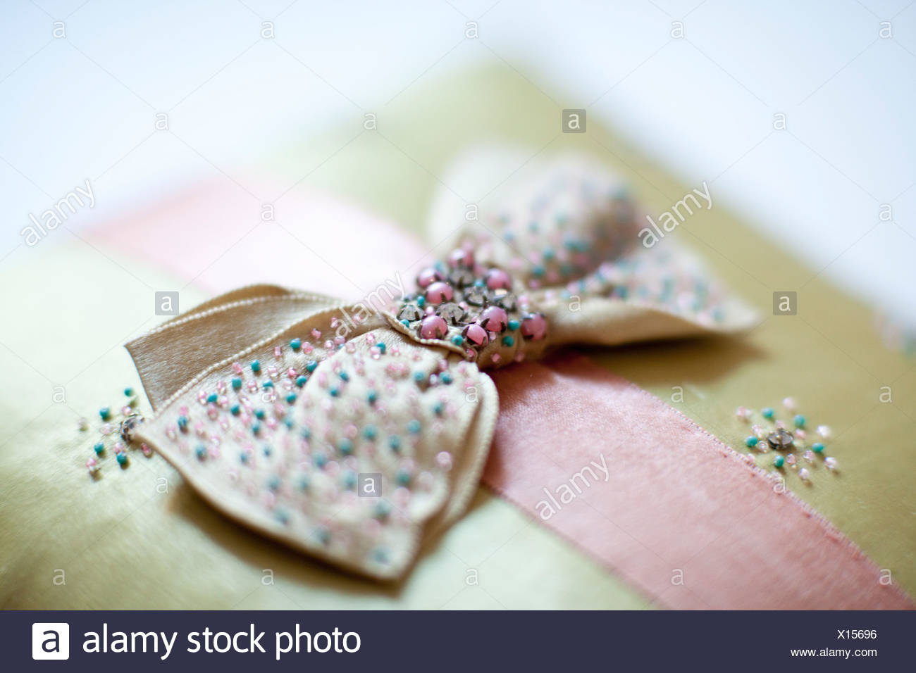 Close up of beaded bow - Stock Image