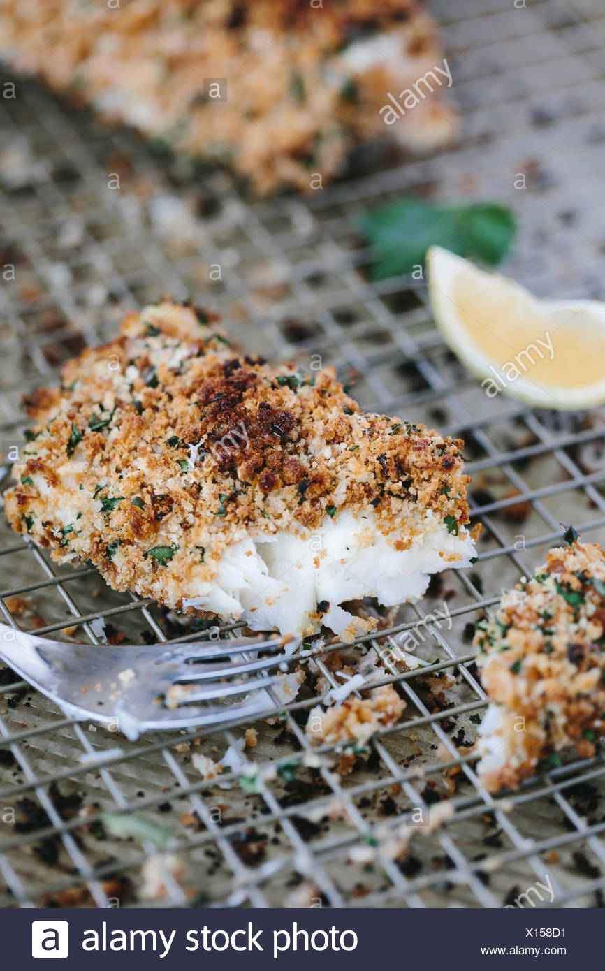 A piece of oven-fried and half eaten cod is photographed from the front view. - Stock Image