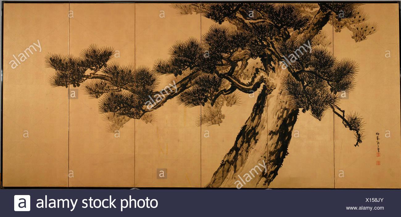 Great Pines. Artist: Suzuki Shonen (Japanese, 1849-1918); Period: Meiji period (1868-1912); Date: late 19th century; Culture: Japan; Medium: Pair of - Stock Image