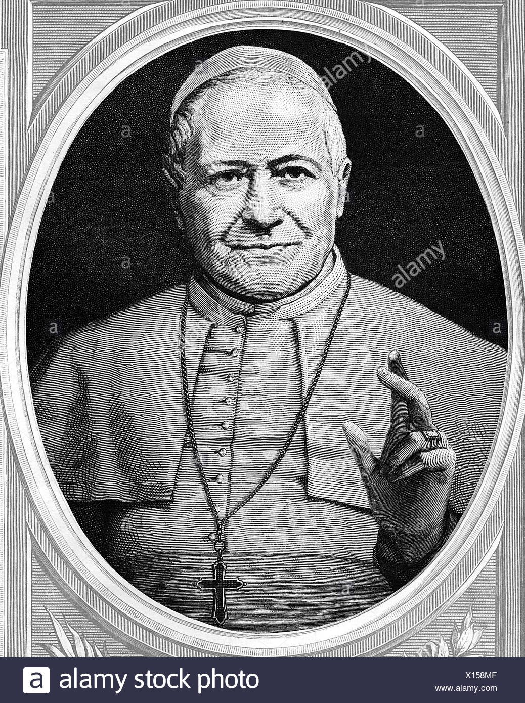 Portrait of Pope Pius IX page over 100 years old Engraving