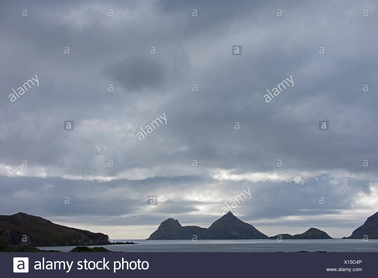 Saddle Island at mouth of Wilson Harbour, South Georgia - Stock Image