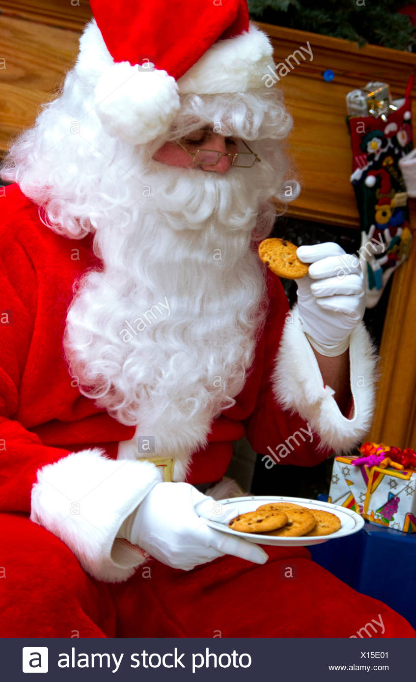 Santa With Plate Of Cookies Stock Photo 276101281 Alamy