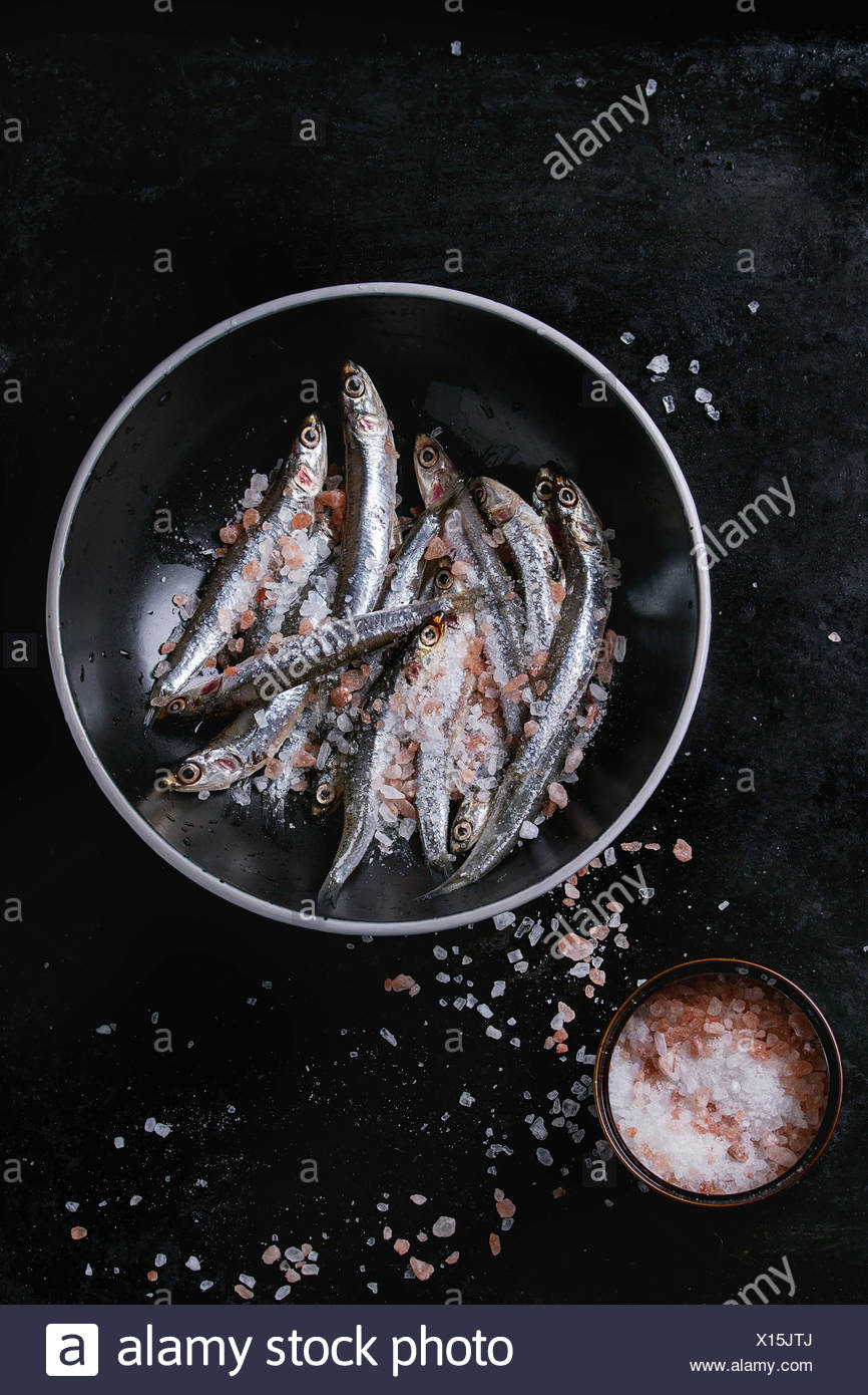 Lot of raw fresh anchovies fishes in black ceramic bowl with pink and sea salt over black metal background. Top view. Sea food background theme with s - Stock Image