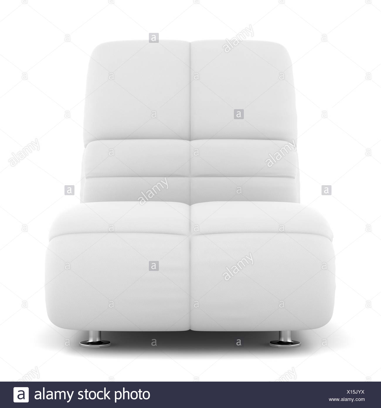 modern leather armchair isolated on white - Stock Image
