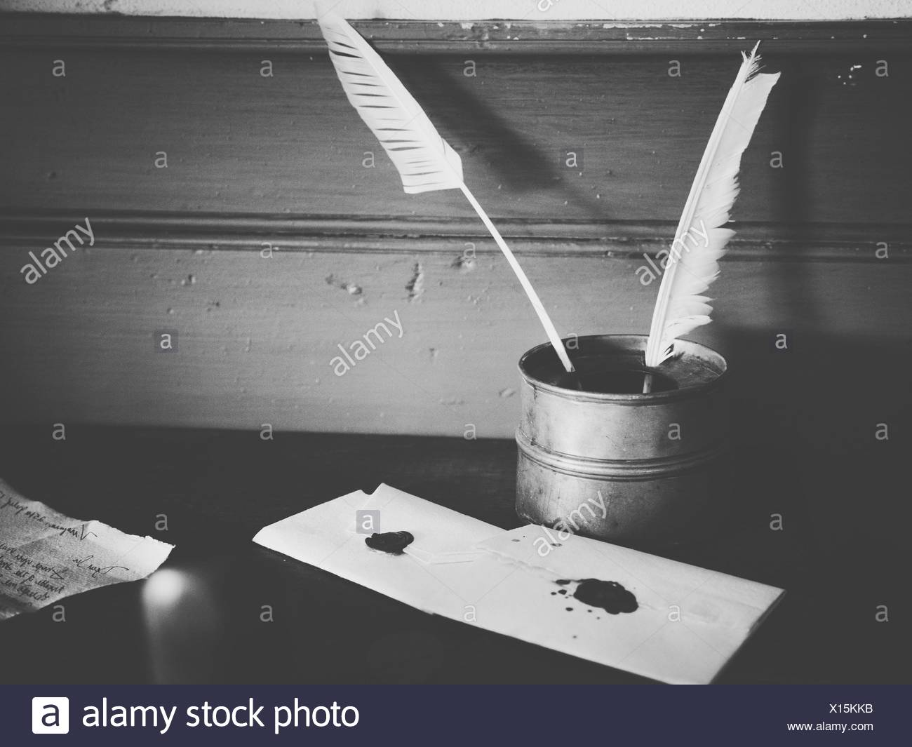 Close-Up Of Quill Pen And Ink Well - Stock Image