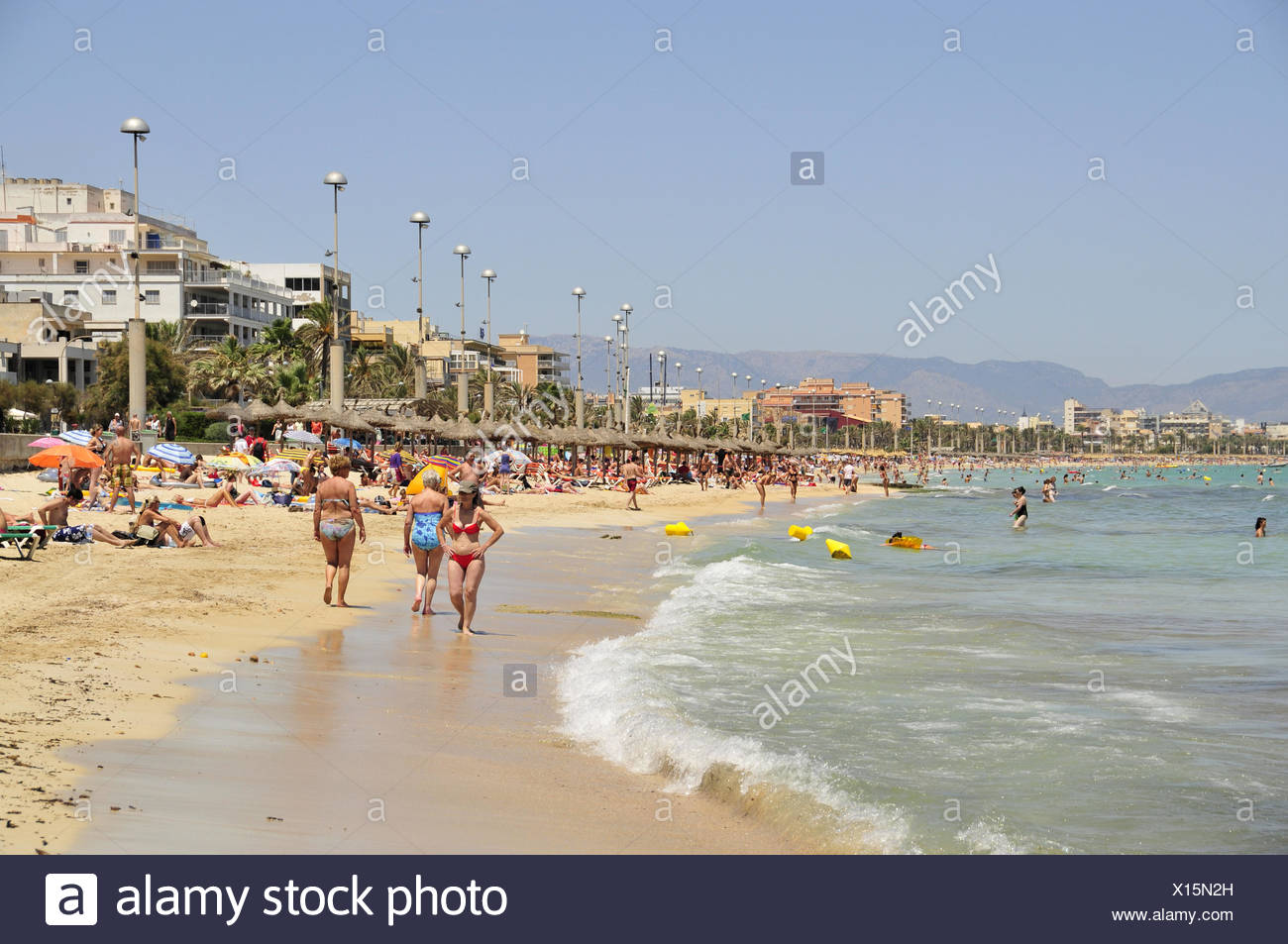geography / travel, Spain, bather in El Arenal at the playa de Palma, Majorca, Balearics, Additional-Rights-Clearance-Info-Not-Available - Stock Image