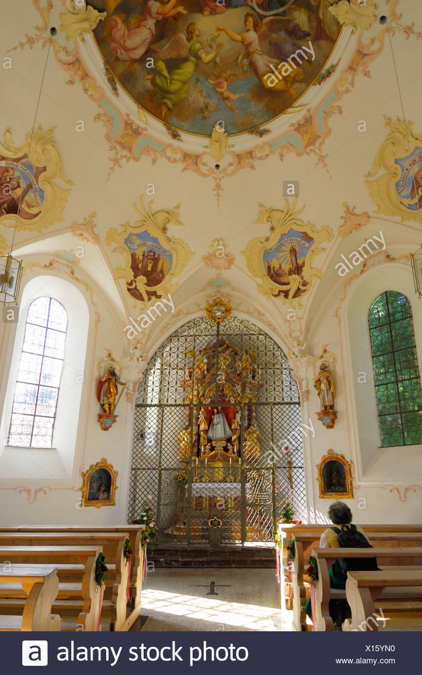chapell Lorettokapelle, pilgrimage chapell, interior view, Oberstdorf, Allgaeu range, Allgaeu, Swabia, Bavaria, Germany - Stock Image