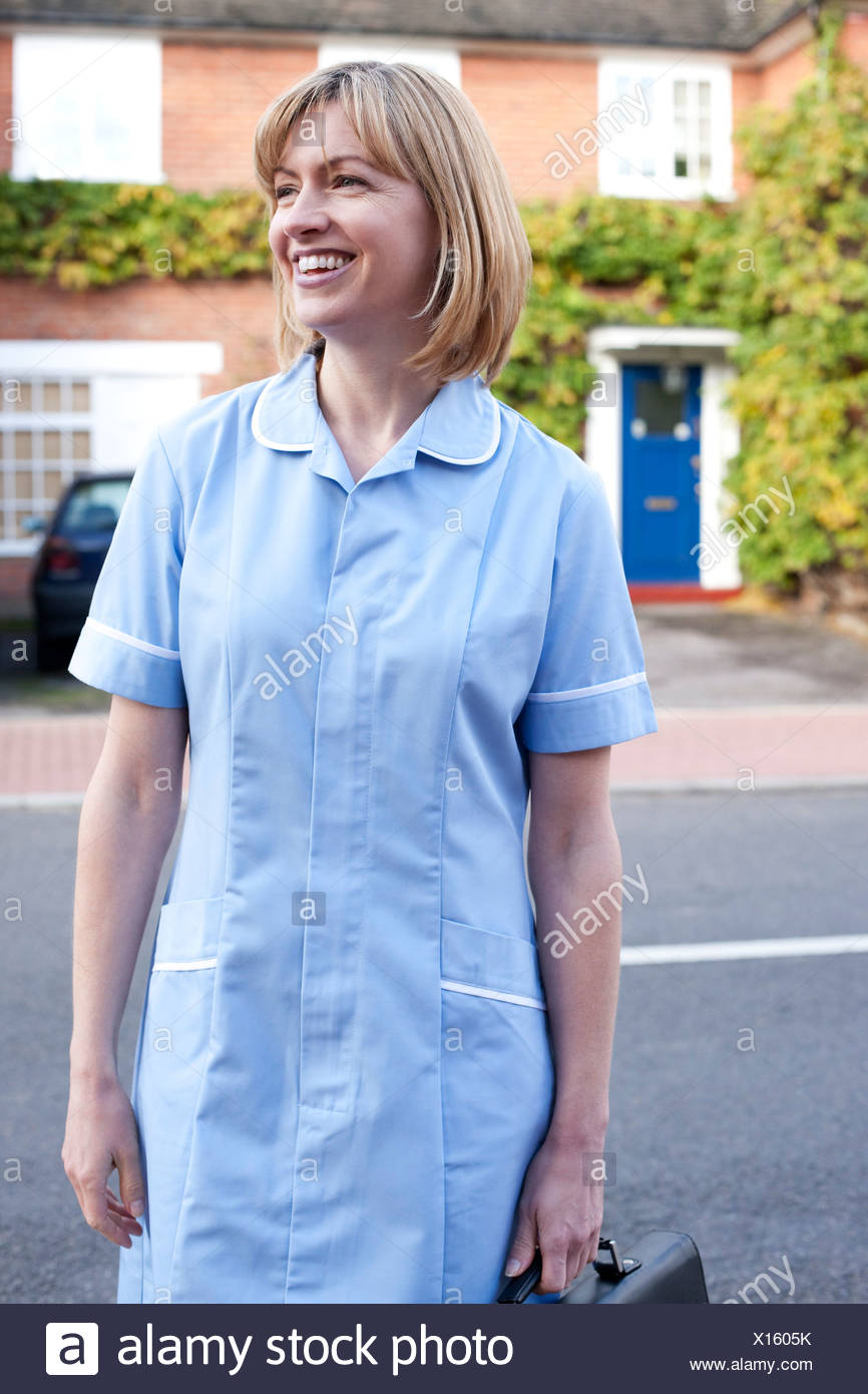 Nurse on a home visit Stock Photo