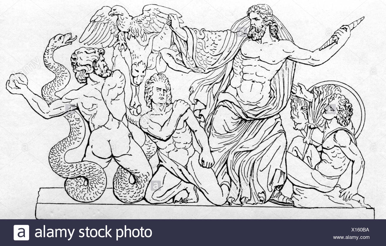 "Zeus (Latin: Jupiter), Greek ""divine king"", leader of gods, god of sky and thunder, scene, drawing after Pergamon Altar, Additional-Rights-Clearances-NA Stock Photo"