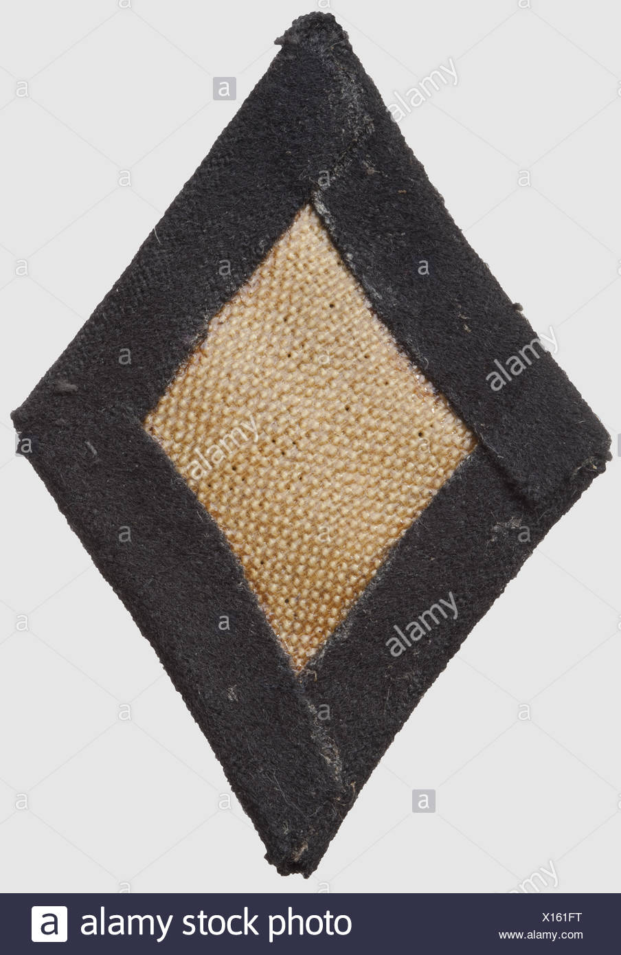 SS / SD sleeve lozenge, hand-embroidered version on black cloth, historic, historical, 1930s, 1930s, 20th century, SS, Schutzstaffel, NS, National Socialism, Nazism, Third Reich, German Reich, branch of service, branches of service, organisation, organization, organizations, organisations, object, objects, clipping, cut out, cut-out, cut-outs, insignia, symbol, symbols, equipment, uniform, uniforms, detail, details, Additional-Rights-Clearences-NA - Stock Image