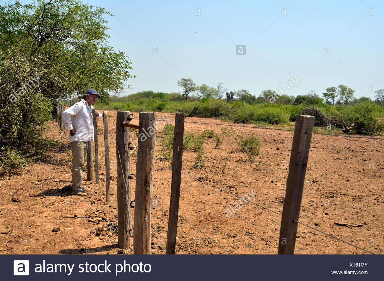 Land grabbing, major landowners have fenced off the land that once constituted the habitat of the Wichi Indians tribe, the - Stock Image