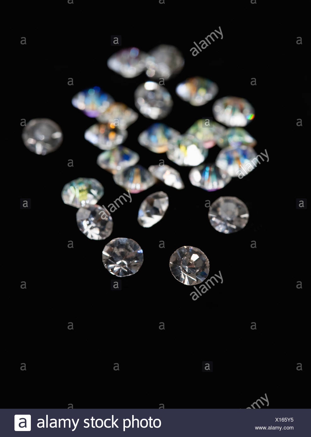 USA, Illinois, Metamora, Diamonds on black velvet Stock Photo