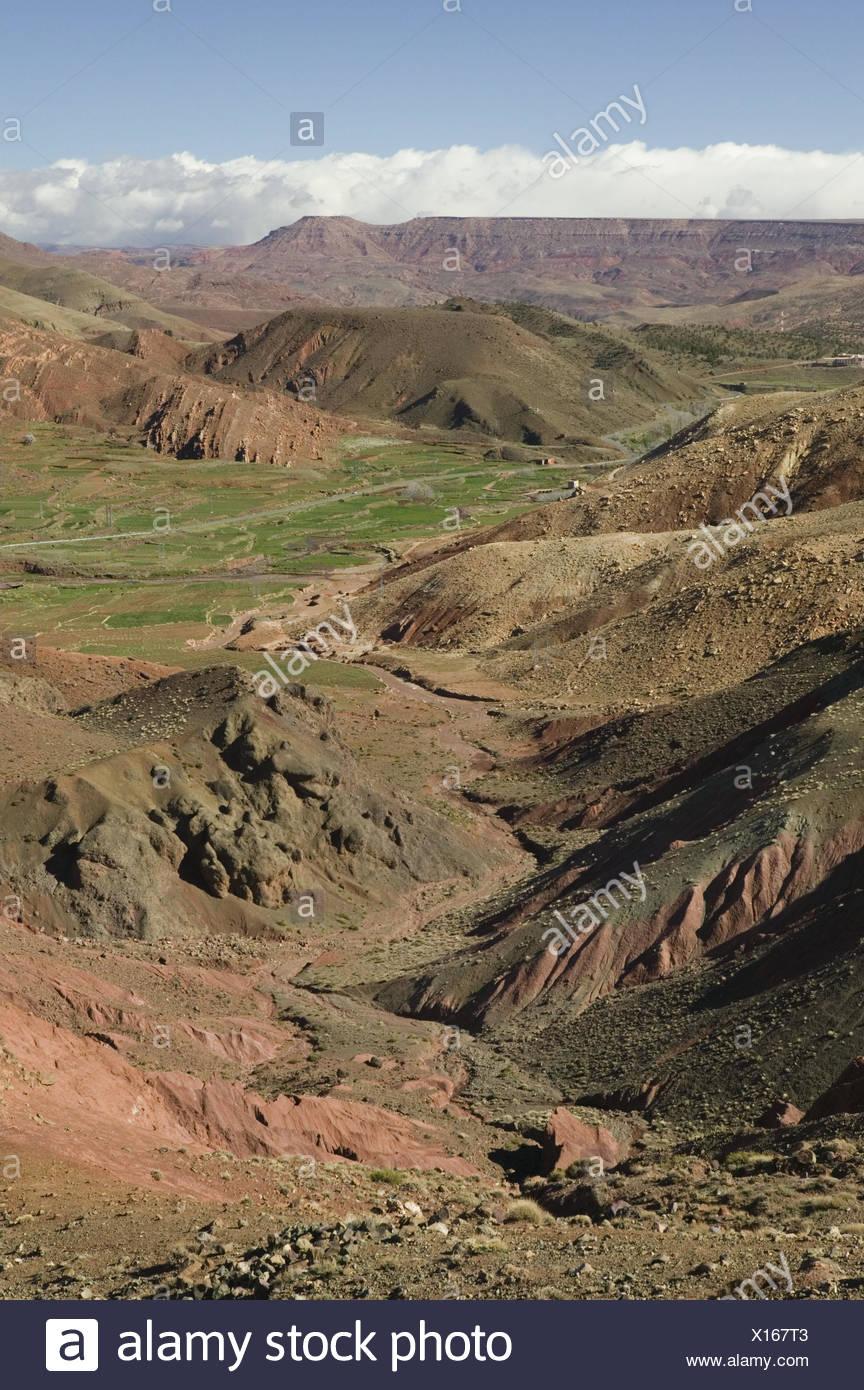 Marokko, Hoher Atlas, Tizi-n-Tichka Pass, Agouim, Berglandschaft ...
