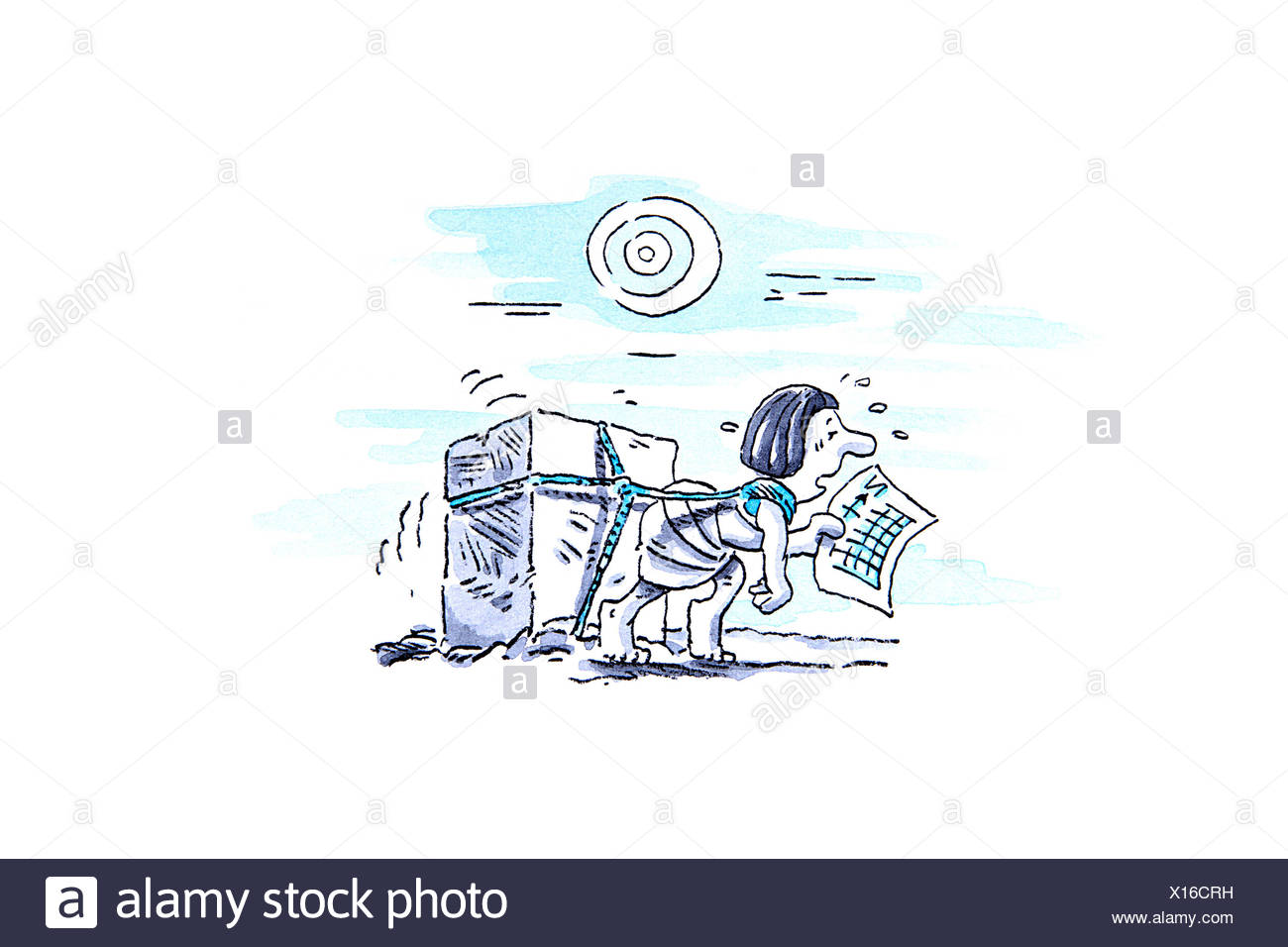 Excessive workload, conceptual artwork - Stock Image
