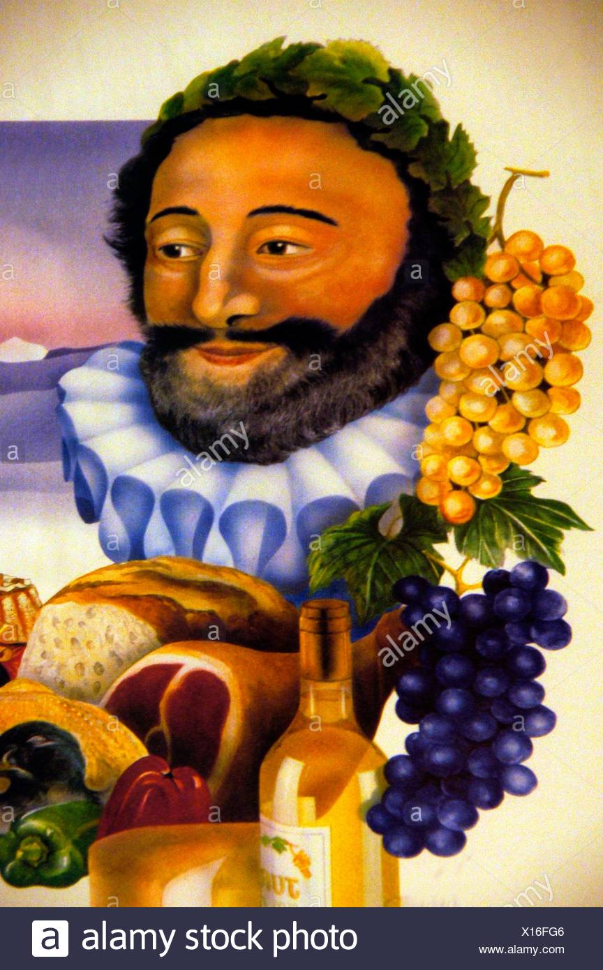 Henry IV King of France and King of Navarre depicted with all the ´goodies´ from the Gers region (wines, hams, etc.), - Stock Image