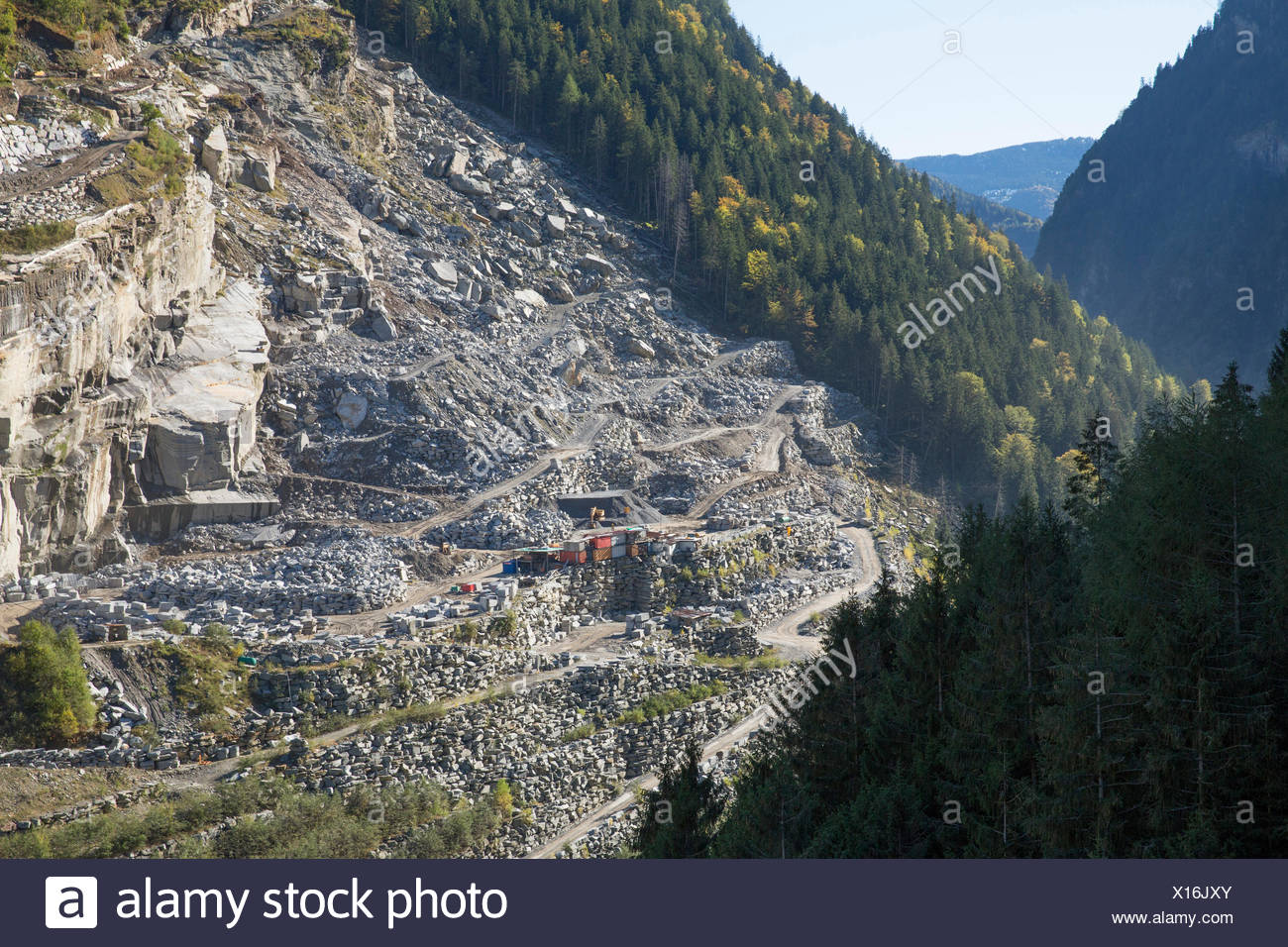 Calanca valley, stone quarry, Arvigo, Calanca valley, autumn, mountain, mountains, canton, GR, Graubünden, Grisons, cliff, rock, - Stock Image